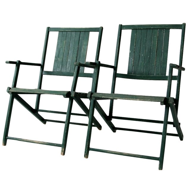 Vintage Wood Folding Chairs in Emerald - A Pair For Sale