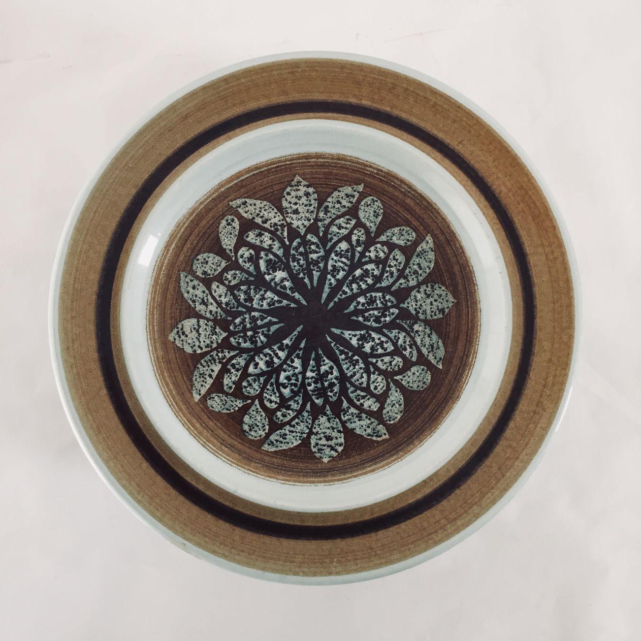 Mid-Century Blue u0026 Brown Salad Plates - Set of 6 - Image 2 of & Mid-Century Blue u0026 Brown Salad Plates - Set of 6 | Chairish