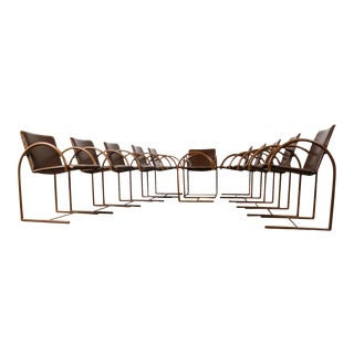 Mid Century Cantilevered Steel + Leather Dining Chairs - Set of 11 For Sale