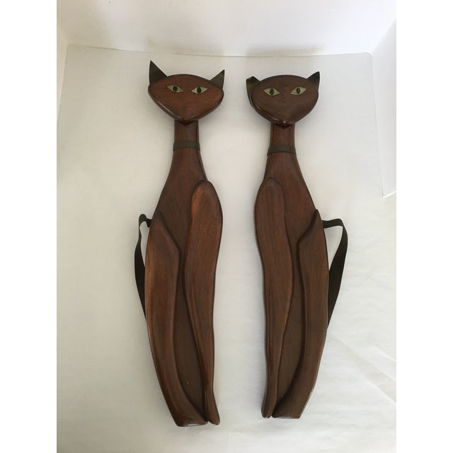 Mid-Century Wood & Brass Wall Cats - A Pair - Image 2 of 10