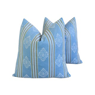 "Custom Blue French Striped Ticking Feather/Down Pillows 24"" Square - Pair For Sale"