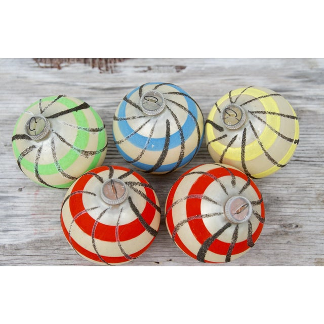 Striped West German Christmas Ornaments - Set of 5 For Sale In Seattle - Image 6 of 11