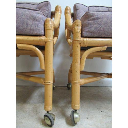 Wood Vintage Ficks Reed Rattan Bamboo Arm Chairs -A Pair For Sale - Image 7 of 11