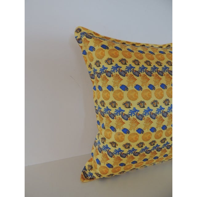 Gianni Versace authentic seashells and coral printed decorative pillow. Original label inside. Backed with Barocco yellow...