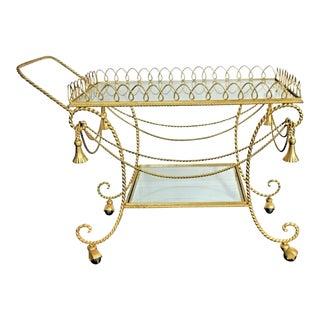 1950s Hollywood Regency Gold Gilt Italian Tassel & Rope Bar Cart For Sale