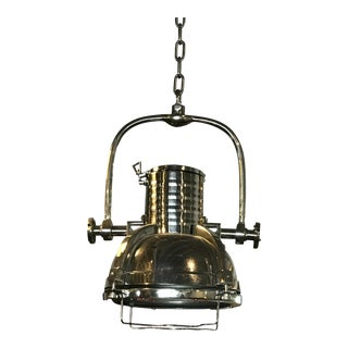 Industrial Large Chrome Pendant Light For Sale