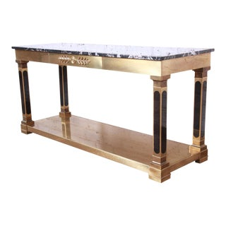 Mastercraft Hollywood Regency Brass and Marble Console or Sofa Table For Sale
