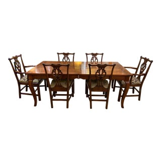 Wright Furniture Company Extension Table + Chippendale Style Chair Dining Set For Sale