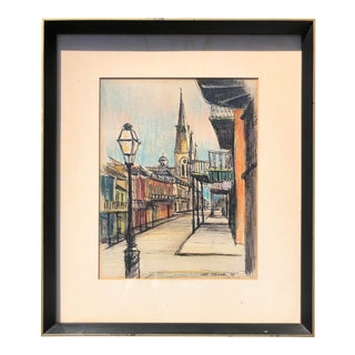 Mid-Century Modern Framed Lee Tucker Mixed Media Drawing of Chartres Street For Sale