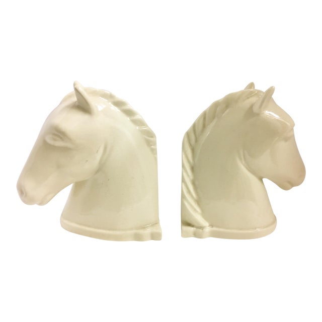 1940s Mid-Century Modern Abington Pottery Ivory Horse Bookends - a Pair For Sale