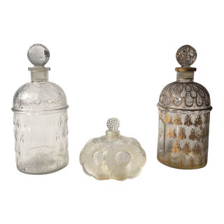 Vintage Lalique and Guerlain Perfume Bottles - Set of 3 For Sale