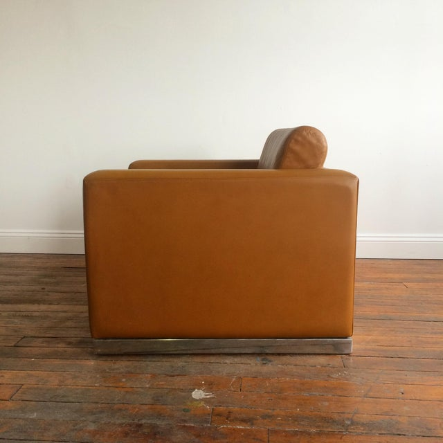 John Geiger Camel-Colored Leather Club Chair - Image 8 of 8