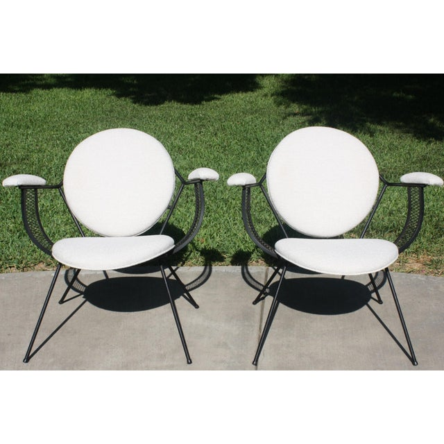 Mid-Century Modern Mathieu Matégot Style Perforated Iron and Bouclé Upholstered Armchairs For Sale - Image 13 of 13