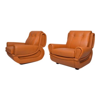 Pair of Art Deco Leather Club Chairs After Jean Michel Frank For Sale