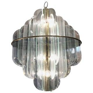 Lightolier Brass & Glass Twelve-Light Chandelier