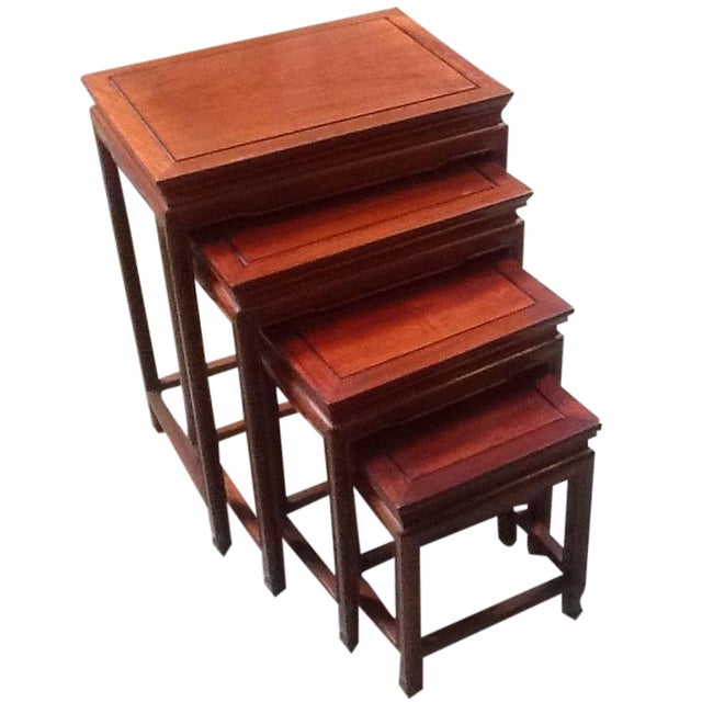 4-Piece Chinese Rosewood Nesting Tables For Sale