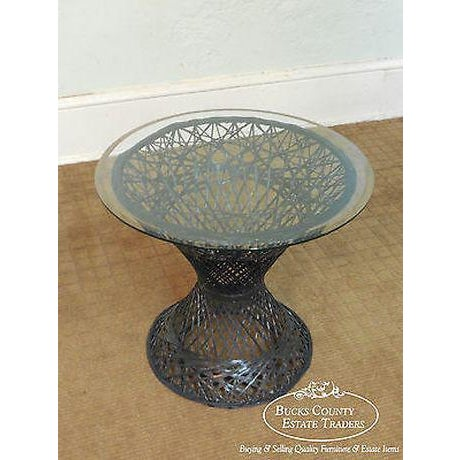 Russell Woodard Vintage Spun Fiberglass Patio Side Table W/ Round Glass Top For Sale - Image 11 of 13