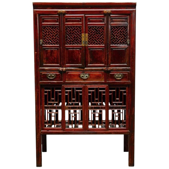 Kitchen Cabinet China: Chinese Lacquered Lattice Door Kitchen Cabinet
