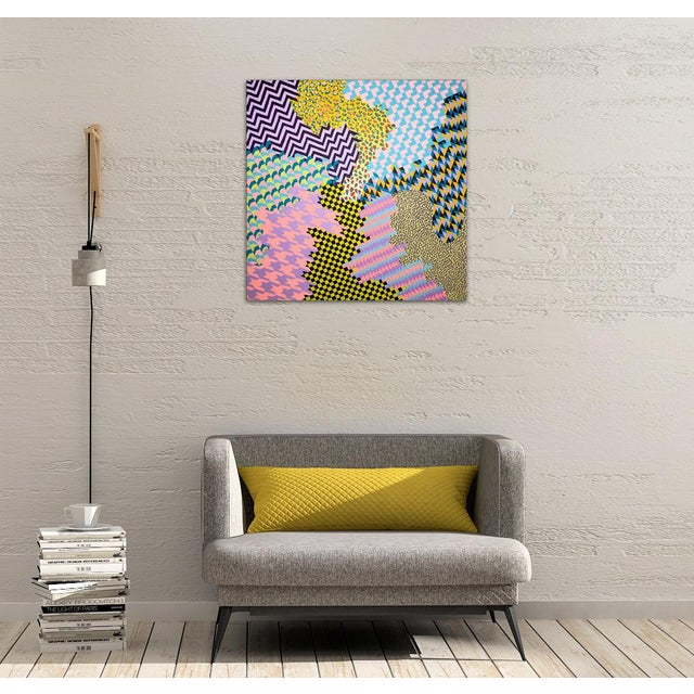 Abstract Contemporary Geometric Colorful Original Painting For Sale - Image 3 of 10