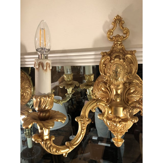 24k Gold Gilt Bronze Louis XV Style Wall Sconces Naurelle - a Pair For Sale - Image 4 of 4