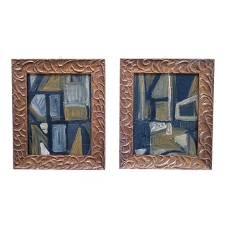 Mid 20th Century Abstract Oil Paintings, Framed - a Pair For Sale