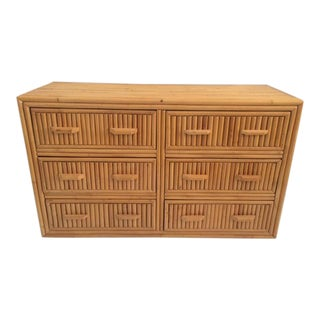 1980s Boho Chic Rattan Double Dresser For Sale