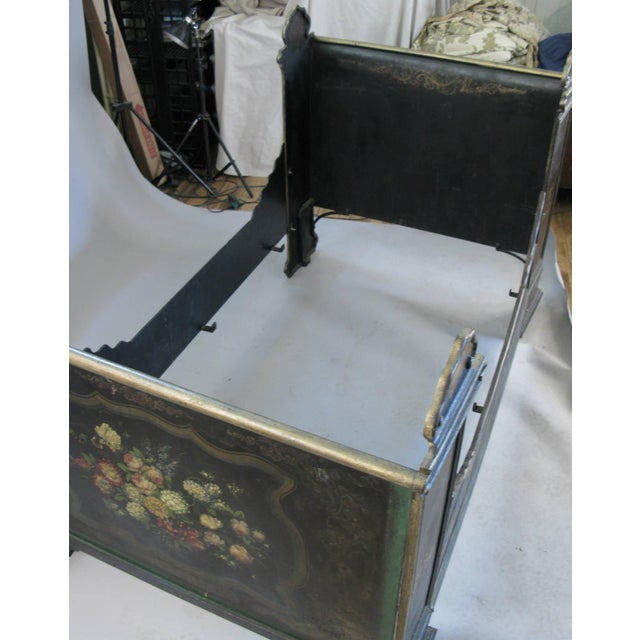 Mid 19th Century Antique Victorian Hand-Painted Cast Iron Bed For Sale - Image 5 of 8
