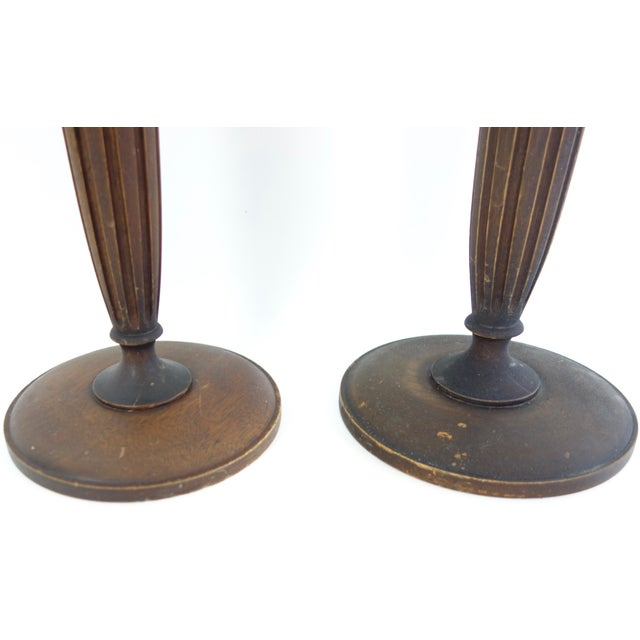 American Hand Turned American Walnut Candlesticks - a Pair For Sale - Image 3 of 5