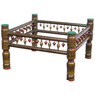 1970s Vintage Decorative East Indian Style Table Base or Ottoman For Sale