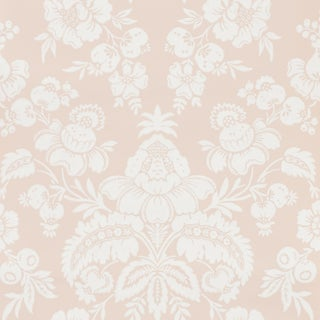 Schumacher Simone Damask Wallpaper in Blush For Sale
