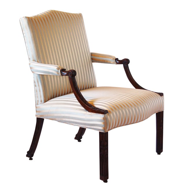 George II Mahogany Library Armchair For Sale
