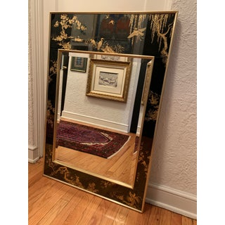 LaBarge Chinoiserie Style Black Eglomise Mirror Preview