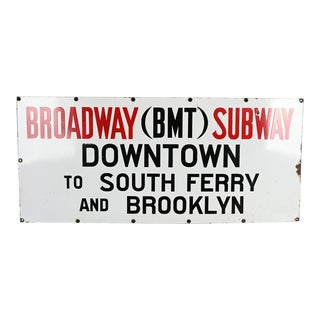 Nyc Broadway Subway to Downtown Porcelain Sign For Sale