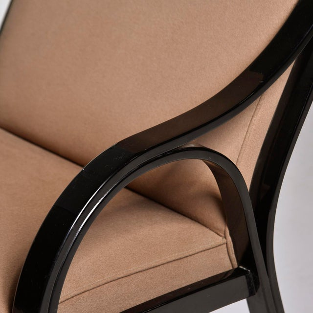 Wood Pair Mid Century Ebonised High Back Italian Armchairs For Sale - Image 7 of 10