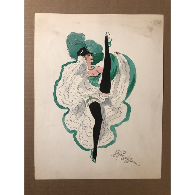 1950s Can Can Dancer, Painted in Paris by Alice Huertas For Sale - Image 6 of 6