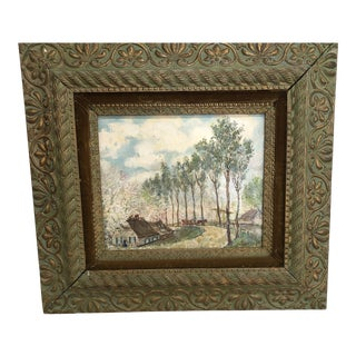 Original Landscape Painting in Antique Frame For Sale