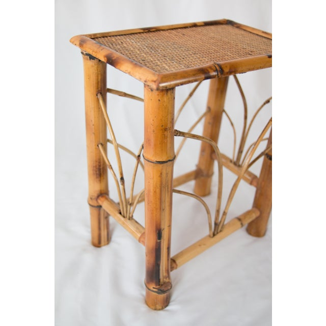 Asian Vintage Chinoiserie Bamboo Side Table For Sale - Image 3 of 7