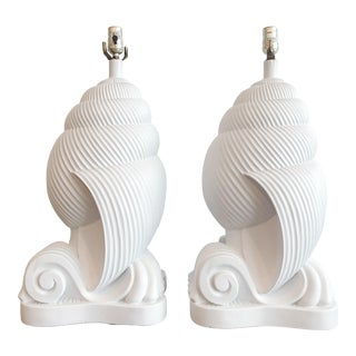 1980s of Plaster Conch Shell Artmaster Nautilus Lamps - a Pair For Sale