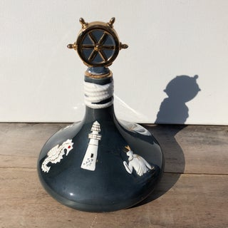 Vintage Nautical-Themed Ocean Blue Glass Decanter Bottle Preview