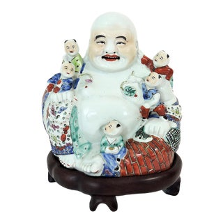 Republic Period Chinese Porcelain Laughing Buddha Figure With Five Children on Rosewood Stand For Sale