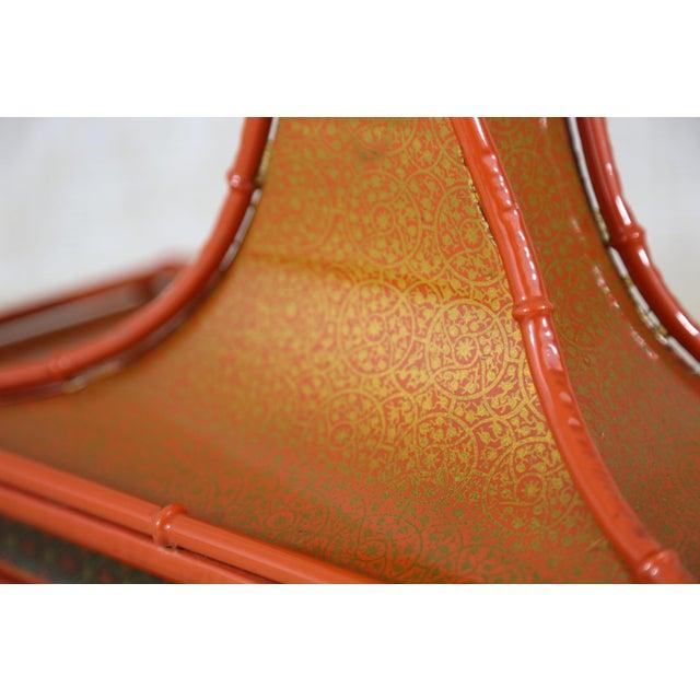 Enamel Decorative Orange Metal Pagoda For Sale - Image 7 of 11
