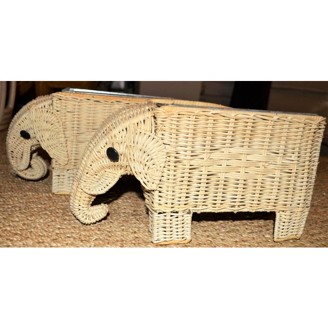 Boho Chic Wicker Elephant Basket Planters - a Pair For Sale In Houston - Image 6 of 12