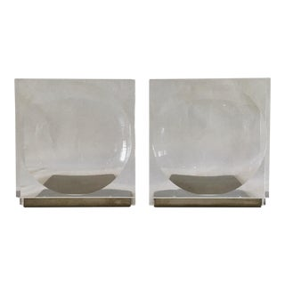 Mid-Century Lucite Op Art Concave/Reverse Convex Bookends - a Pair For Sale