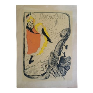 "Toulouse Lautrec Rare Vintage 1940's Original Silkscreen Print "" Jane Avril - Le Jardin De Paris "" 1893 For Sale"