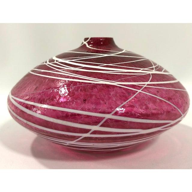 Mid Century Modern Short Stem Flower Bud Art Glass Bud Vase For Sale - Image 4 of 4