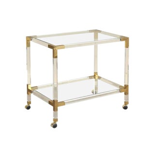 Mid-Century Lucite Acrylic & Brass French Rolling Bar Cart