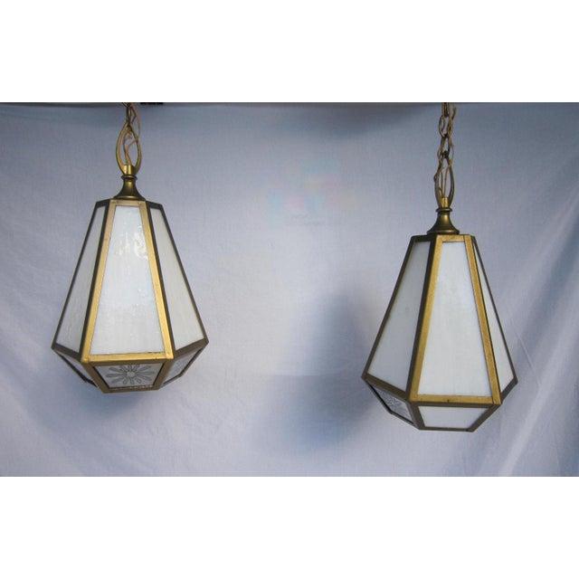 Mid Century Pendant Lights - Pair - Image 5 of 6