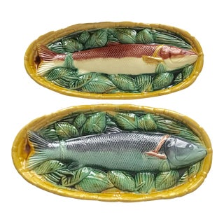 Traditional Majolica Pottery Fish Basket Wall Plaques Plates - a Pair