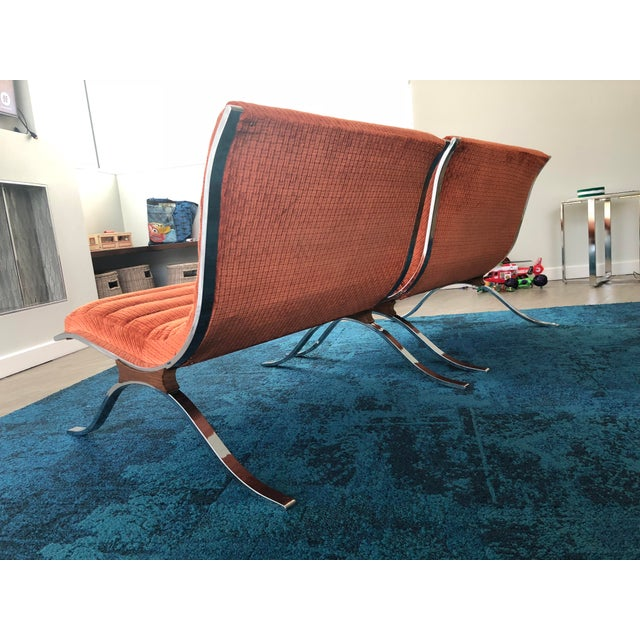 Pair of Mid Century Modern Barcelona Style Lounge Chairs by Selig. Circa 1970s.