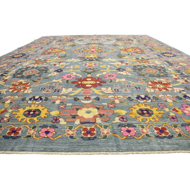 Boho Chic New Colorful Turkish Oushak Rug With Modern Contemporary Style For Sale - Image 3 of 6
